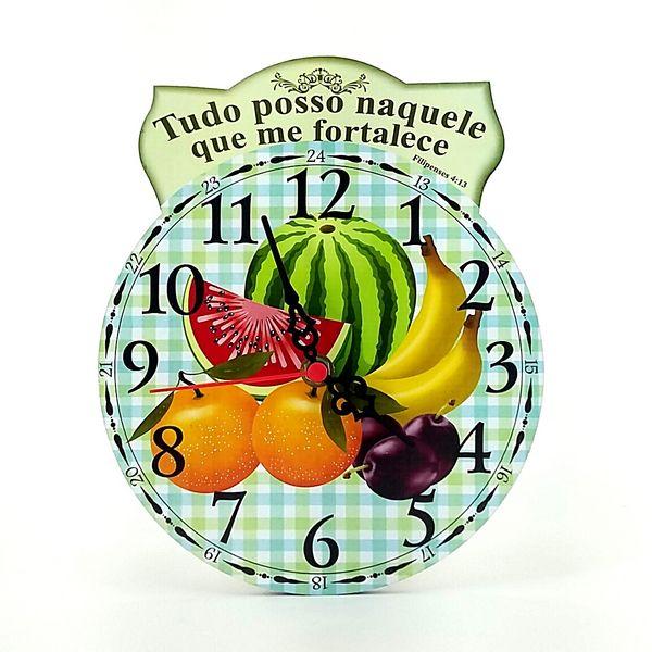 Relógio De Parede Tudo Posso Naquele Que Me Fortalece Folk Art